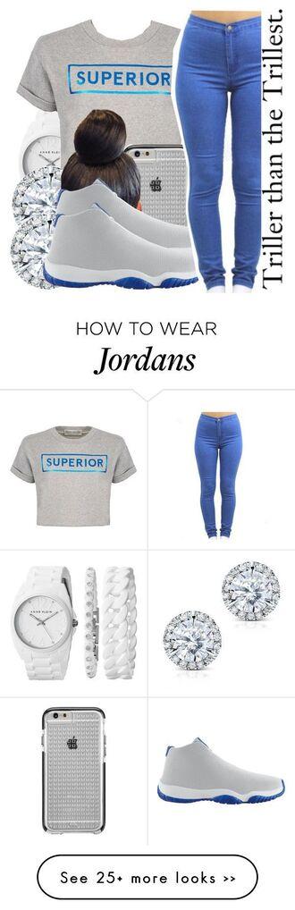 shoes shirt pants jeans denim jordans blue white crop tops diamonds earrings jewelry watch michael kors bracelets wrist dope outfit outfit idea urban school outfit high school high waisted jeans