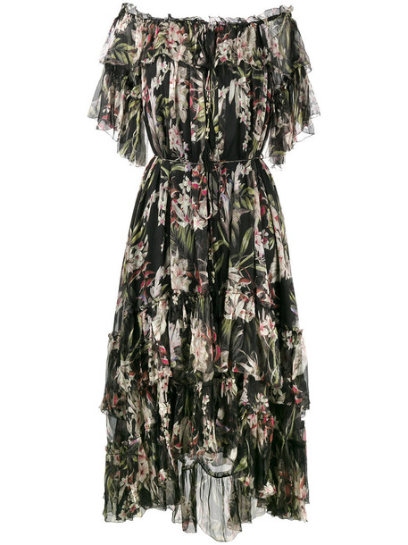 Zimmermann dress print dress women cold floral print black silk