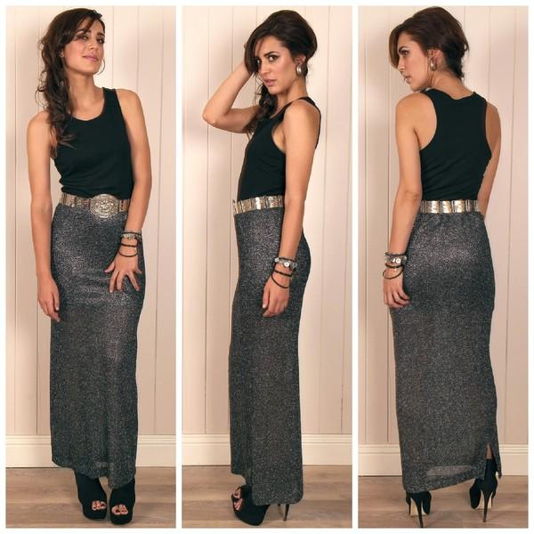 skirt metallic silver maxi maxi skirt glamour vintage