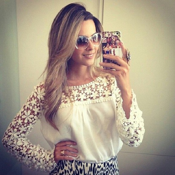 blouse floral ,blouse, lace, white, sheer, flowy, shirt