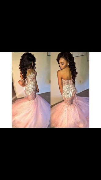 dress pink dress mermaid prom dress bow on back