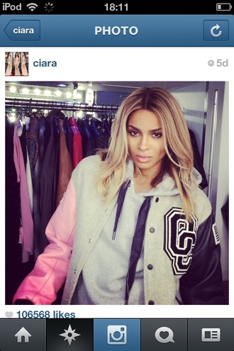 coat neon color ciara celebrity style celebrity style steal cute blonde hair american look singer beyonce girly girly grunge jacket