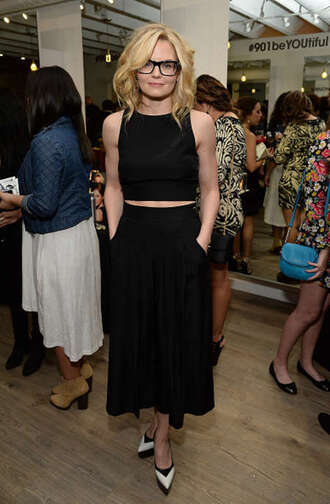 midi skirt jennifer morrison miu miu black crop top black skirt
