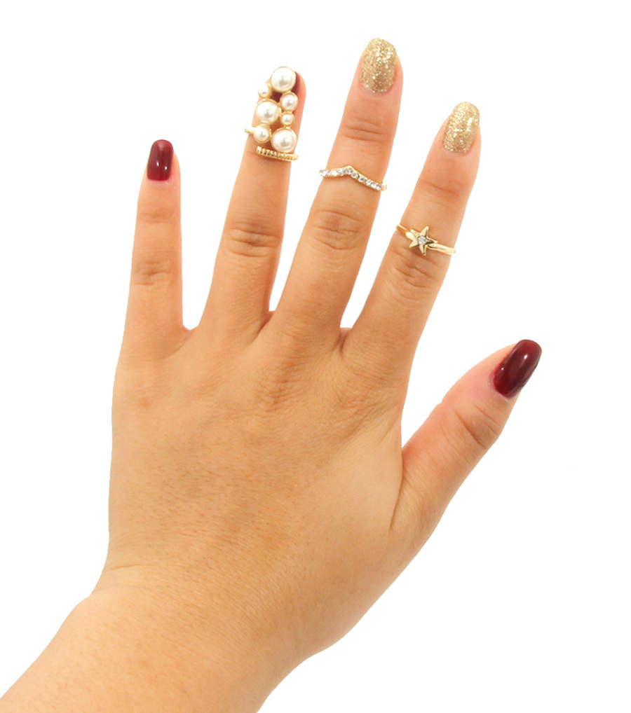 Bodycandies ? pearl midi rings