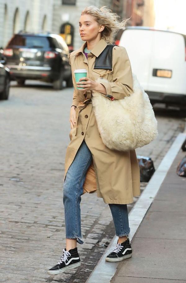 coat trench coat vans jeans denim bag large bag white bag