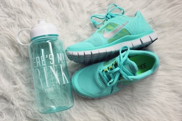 shoes sneakers nike nikes trainers turquoise running gym fit blue aqua bag