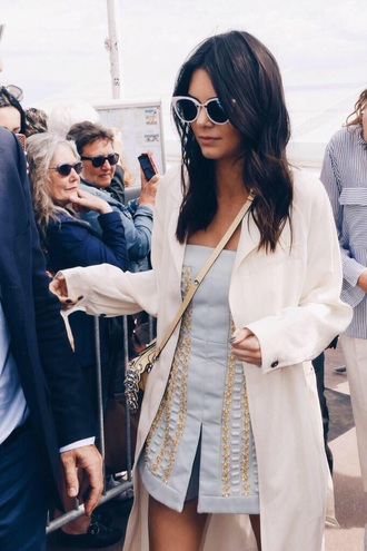 romper dress kendall jenner gold gorgeous party dress light blue blue dress embroidered dress cat eye duster coat