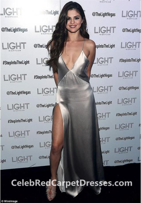 Selena Gomez Silver Dress Plunging V-neck Satin Prom Dress Revival Tour After-party
