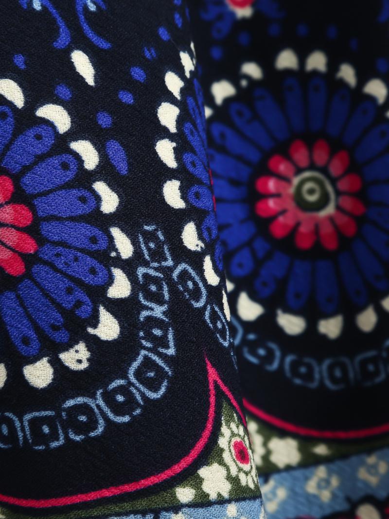 Navy Long Sleeve Vintage Floral Pleated Dress - Sheinside.com