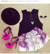shorts,clothes,cute,jewels,shoes,celebrity,hat,hipster,neon,pink,pretty,summer,heels,blouse,haute & rebellious,flowered shorts,floral,tank top,colorful,purple,white,High waisted shorts,black hat,gold jewelry,tie dye,pink high heels,high heels,cut out heels,pink shorts,printed shorts,shirt,black,colorful shorts,spring,necklace,chic,crop tops,girl,perfect,underwear,close magnifique,watercolor pants,pants,style,purple shorts,sunglasses,funny,heels pink black,baggy pants,orange
