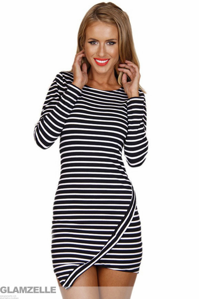 """counting stars"" asymmetric stripes dress – glamzelle"