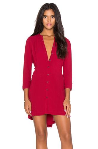 dress shirt dress back red