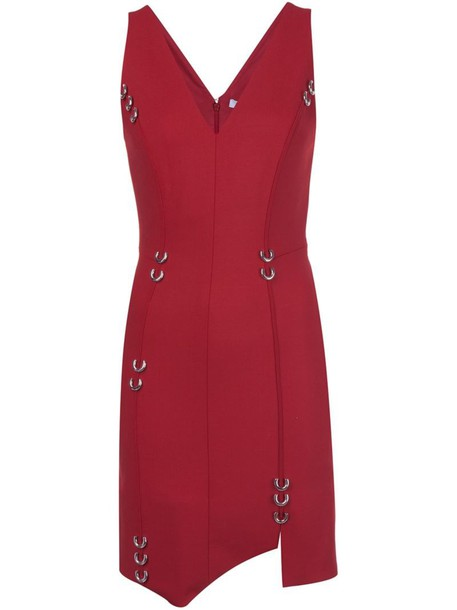 MUGLER dress women spandex wool red