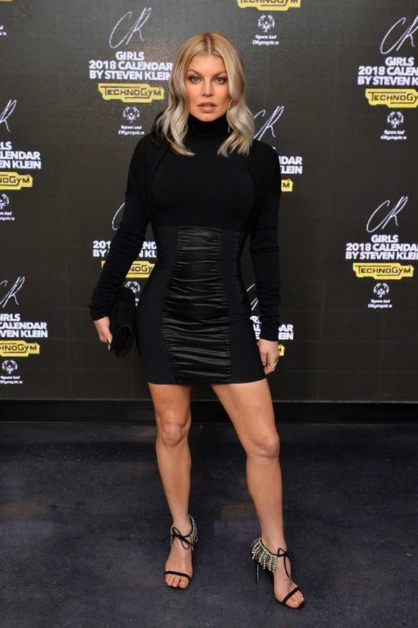 shoes sandals black dress mini dress bodycon dress turtleneck top skirt all black everything fergie