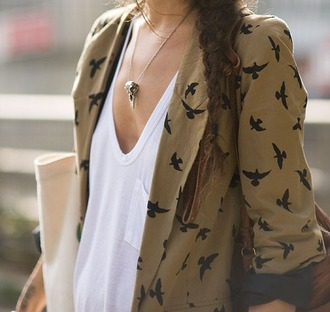 pamela love skull brown jewels jacket jewels birds t-shirt brown blazer cardigan oiseaux marron veste blouse beige urban outfitters