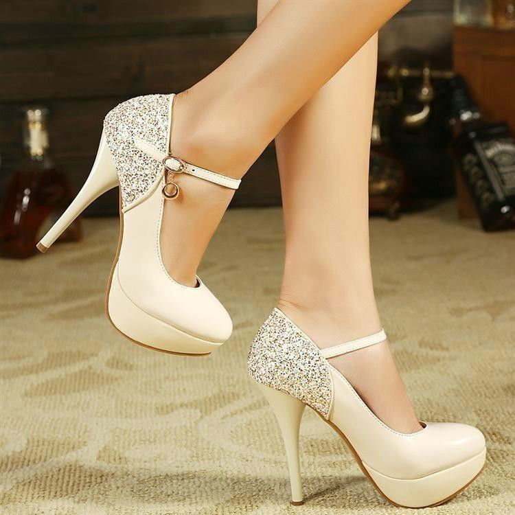 Womens shiny high heel stiletto platform pumps party wedding shoes