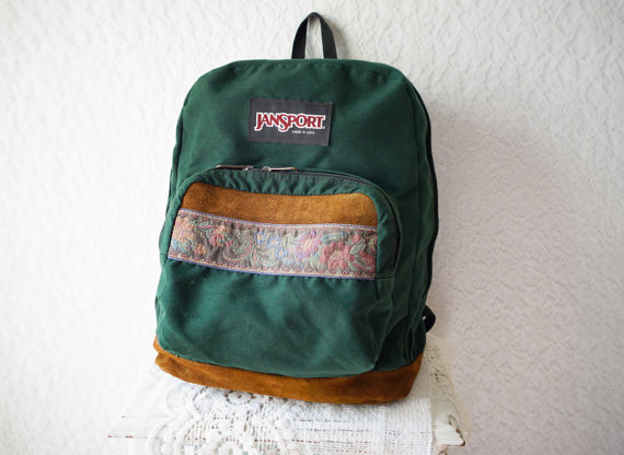 CLASSIC OLD SCHOOL Jansport Green Canvas by WayOutWestVintage