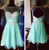 gorgeous homecoming dress,mint homecoming dress,short homecoming dress,backless homecoming dress,beading homecoming dress,party dress,evening dress,short evening dress,new homecoming dress,fashion homecoming dress,mint,sparkle,mint dress,beautiful green dress,dress,lace,aqua dress,turquoise dress,sparkly dress,blue,teal