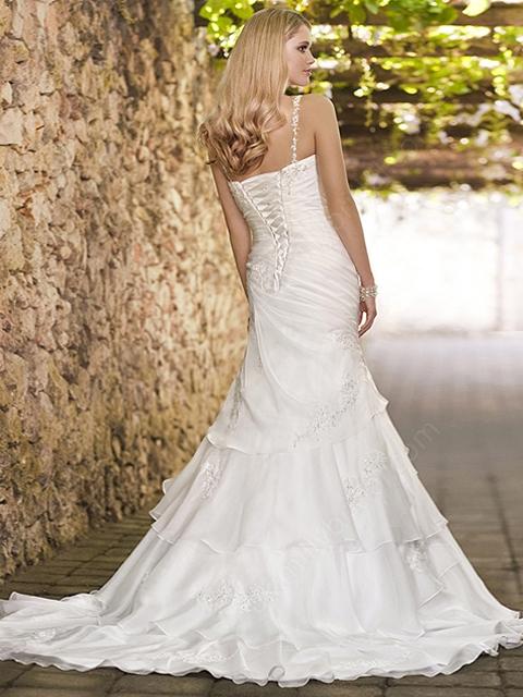A-line Spaghetti Straps Organza Satin Sweep Train White Tiered Wedding Dresses