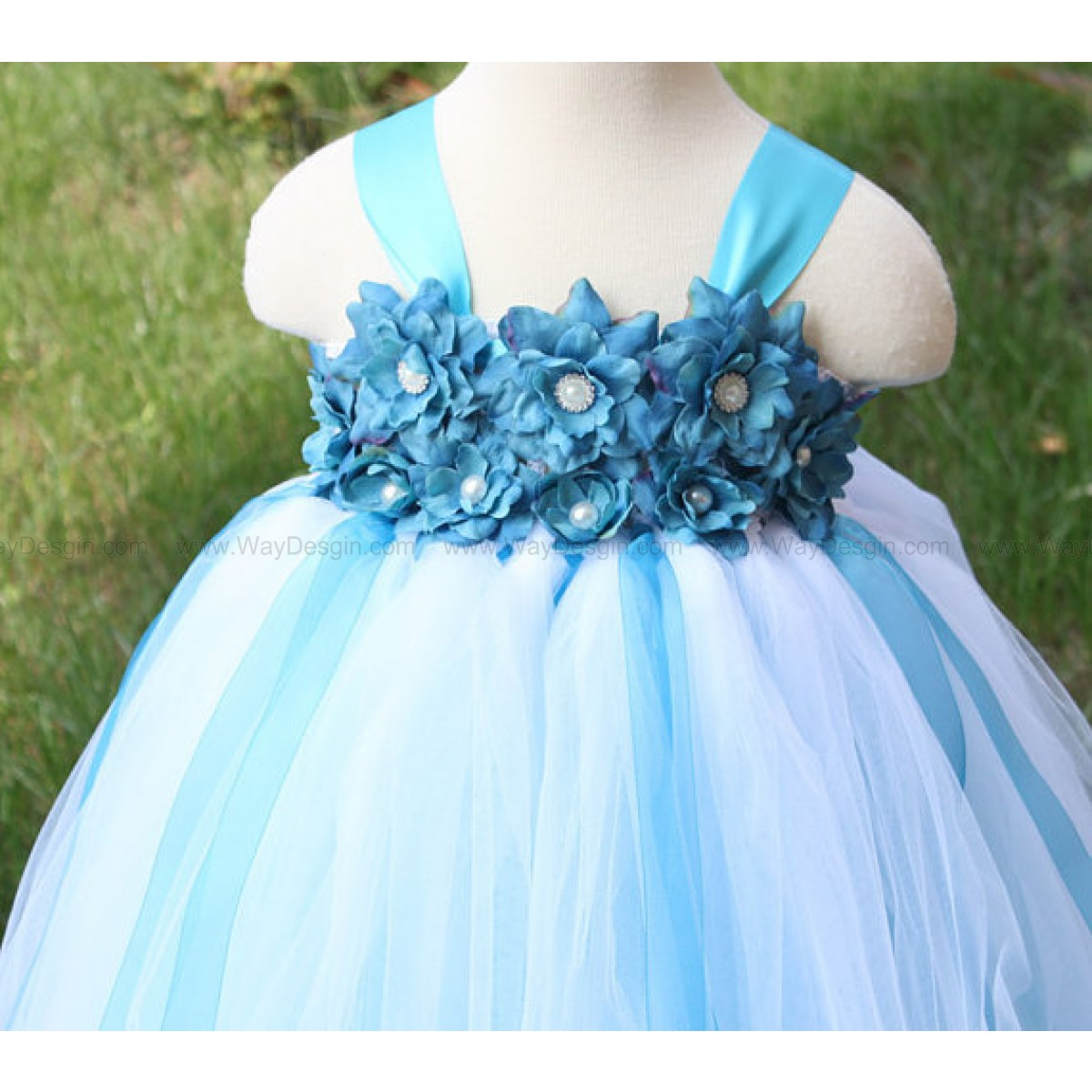Flower Girl Dress With Headband Turquoise White Tutu Dress Baby