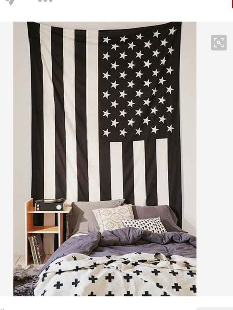 Home Accessory Black And White American Flag