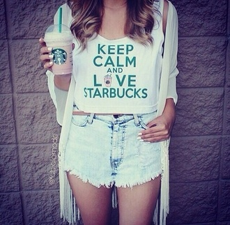 tank top starbucks coffee shorts shirt pink white