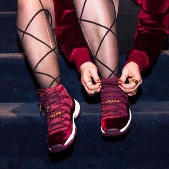 shoes red velvet jordans burgundy