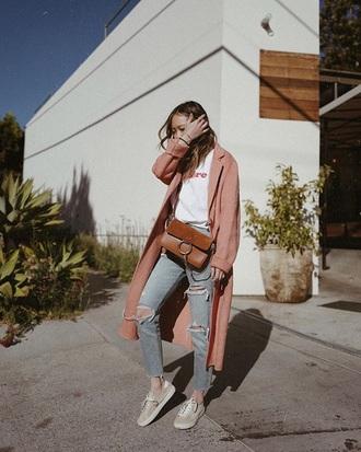 coat pink coat jeans denim blue jeans white t-shirt t-shirt sneakers