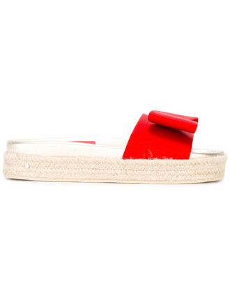 women sandals leather silk red shoes