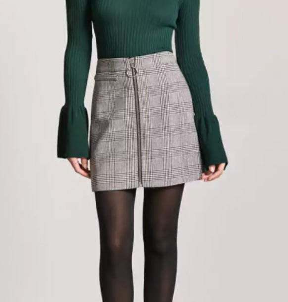 skirt women girl ring zipper skirt grey grey plaid cute mini mini skirt pretty beautiful fall outfits monotone neutral zip forever 21 zipped skirt a line skirt pencil skirt