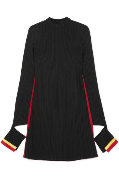 Ellery - Dada Cutout Striped Ribbed Jersey Mini Dress - Black