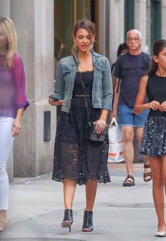 skirt lace top midi skirt black lace skirt sandals jessica alba bag purse