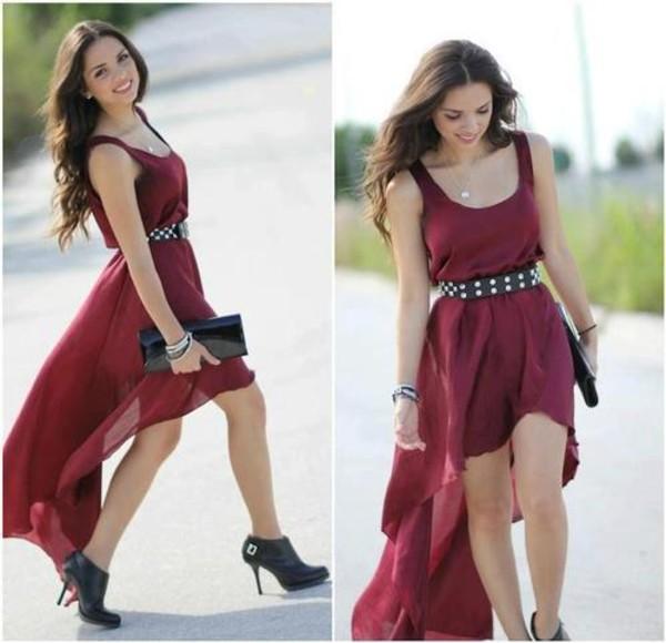 dress burgundy burgundy dress high-low dresses high low dress low high dress open back dresses evening dress sexy evening dresses red