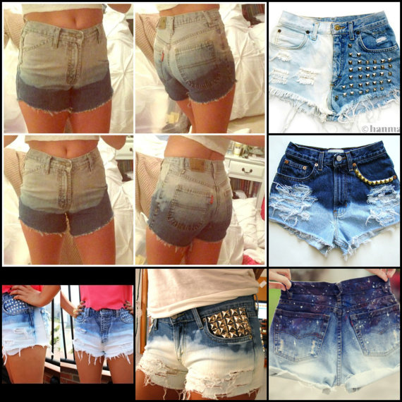Ombre high waist shorts custom by wannabeehipster on etsy