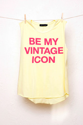 tank top,muscle tee,yellow top,vintage,chipchop,statement shirt,statement