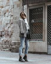 shoes,booties,leather boots,jeans,high waisted jeans,blazer,check blazer,sweater,crossbody bag,sunglasses