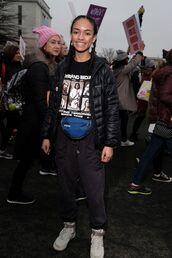 t-shirt,black lives matter,graphic tee,jacket,black jacket,pants,black pants,joggers,joggers pants,sneakers,white sneakers,high top sneakers,equality