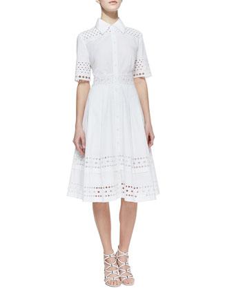 Catherine Malandrino Cutout-Trim Stretch-Cotton Shirtdress - Neiman Marcus