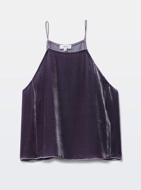 shirt velvet tip grey top grey velvet slip top velvet slip top