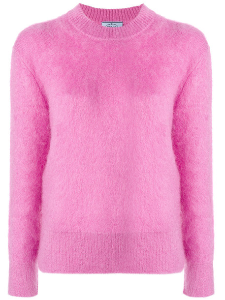 Prada sweater loose fit sweater loose women fit mohair wool purple pink