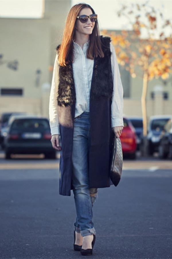 coat fur waistcoat top clothes