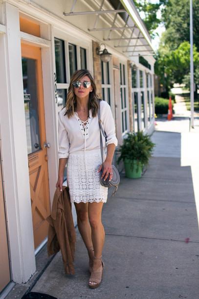 cella jane blogger blouse skirt jacket shoes bag jewels