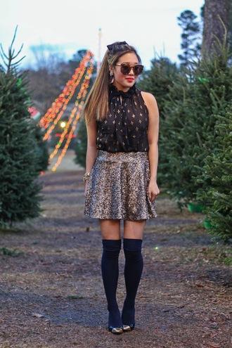 gracefullee made blogger top skirt jewels shoes sunglasses make-up socks