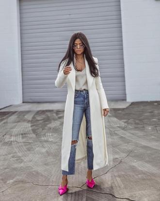 shoes pink shoes mules coat white coat long coat top blue jeans white top jeans denim