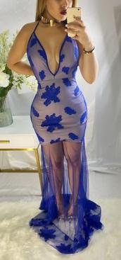 dress,long dress,plunge v neck,blue,gown