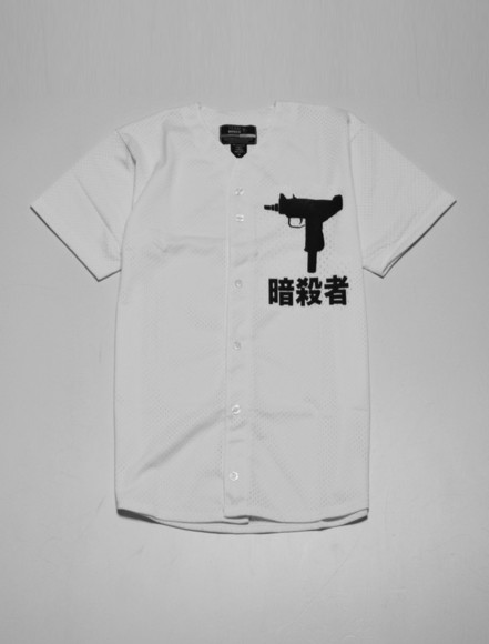 t-shirt white buttons black top baseball jersey gun