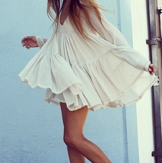 dress cute white white dress short dress summer dress flowy long sleeves pretty ruffle long sleeve dress mini shoes flowy dress colorful cream top chiffon tule light flowing see through translucent summer summer outfits