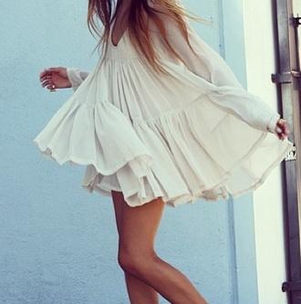 dress white flowy long sleeves pretty ruffle long sleeve dress mini shoes