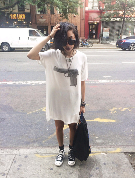 5c83d9002d3bda t-shirt t-shirt dress gun top crewneck sunglasses jewelry necklace bag  converse bracelets