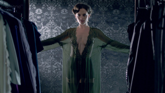 dress adler dressd dressing gown green lace things cute clothes smart classy grunge pale tumblr sherlock lara pulver actress bvbe malefi-cunt blog hot sexy beautiful perfect seethrough sheer